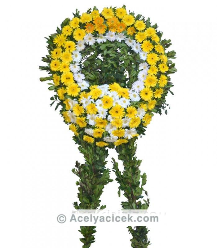 Sarı Beyaz Gerbera Cenaze Çelengi
