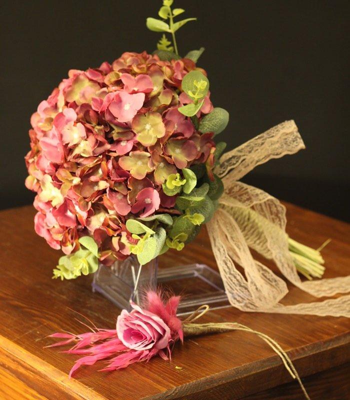 Pastel Ortanca Gelin Çiçeği Buketi