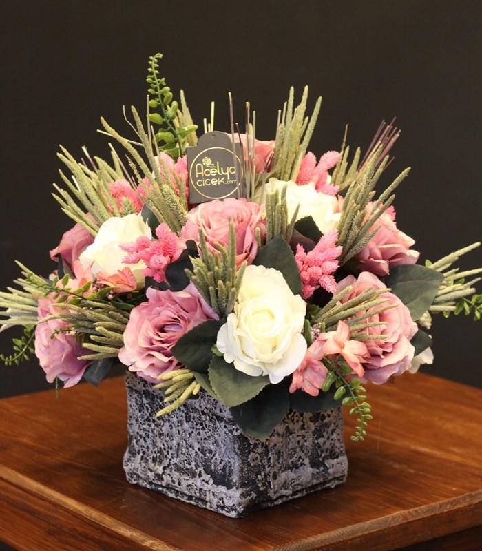 Yapay Çiçek Aranjmanı Pembeli