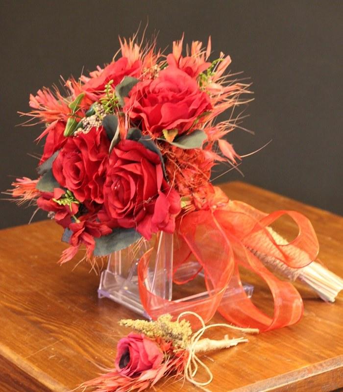Yapay Kırmızı Gül Gelin Çiçeği
