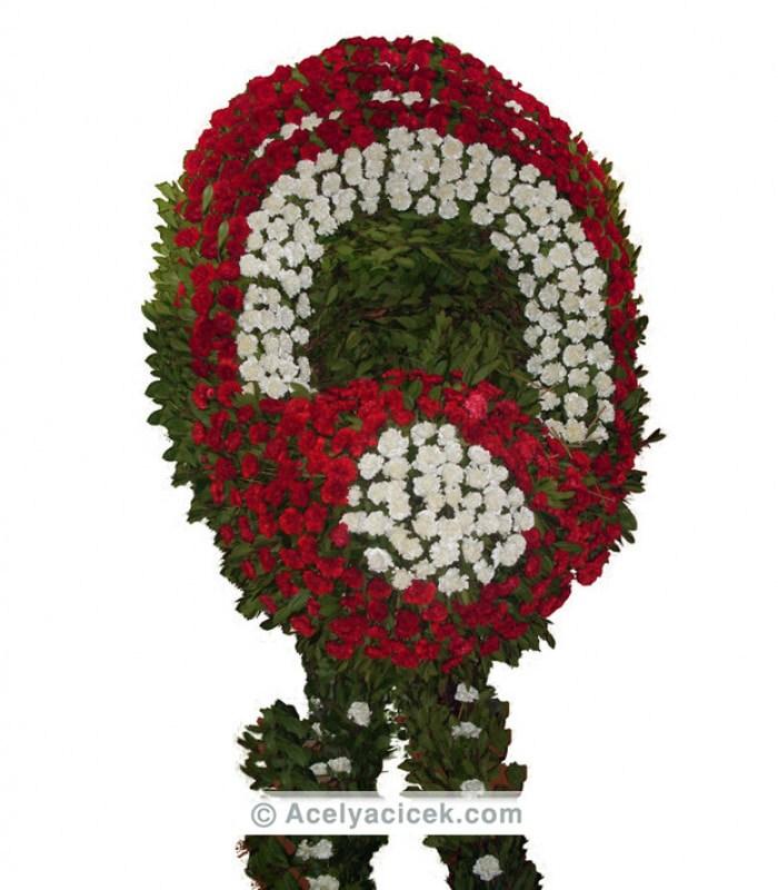 Vip Kırmızı Beyaz Cenaze Çiçeği