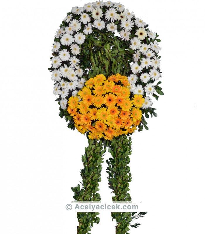 Turuncu Beyaz Gerbera Cenaze Çelengi
