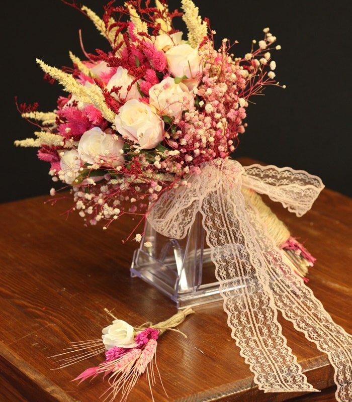 Beyaz Gül Kuru Gelin Çiçeği