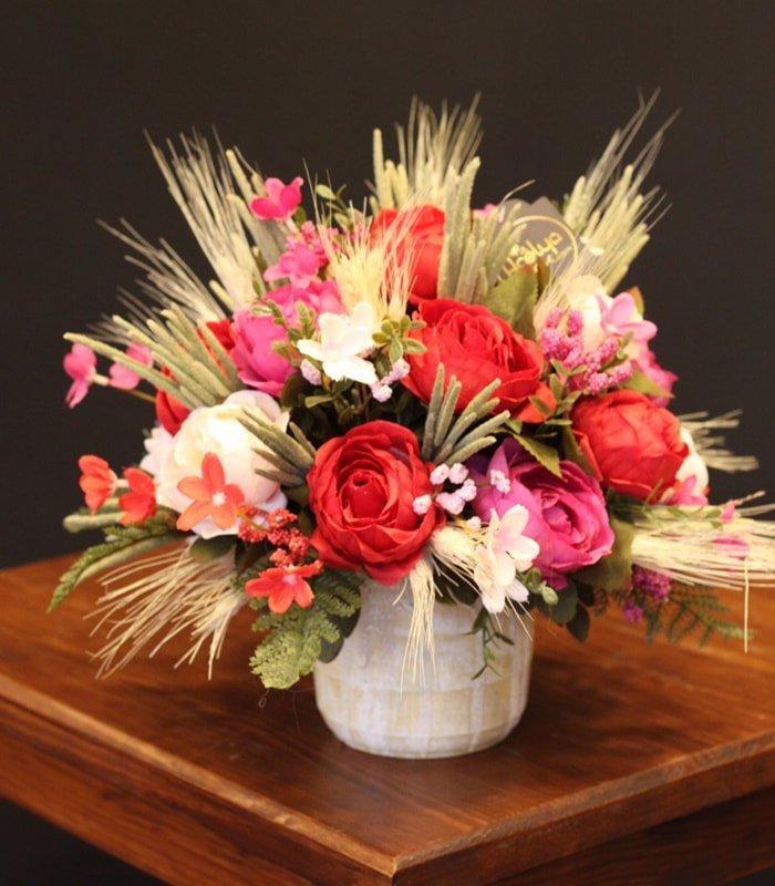 Yapay Çiçek Aranjmanı Kırmızılı