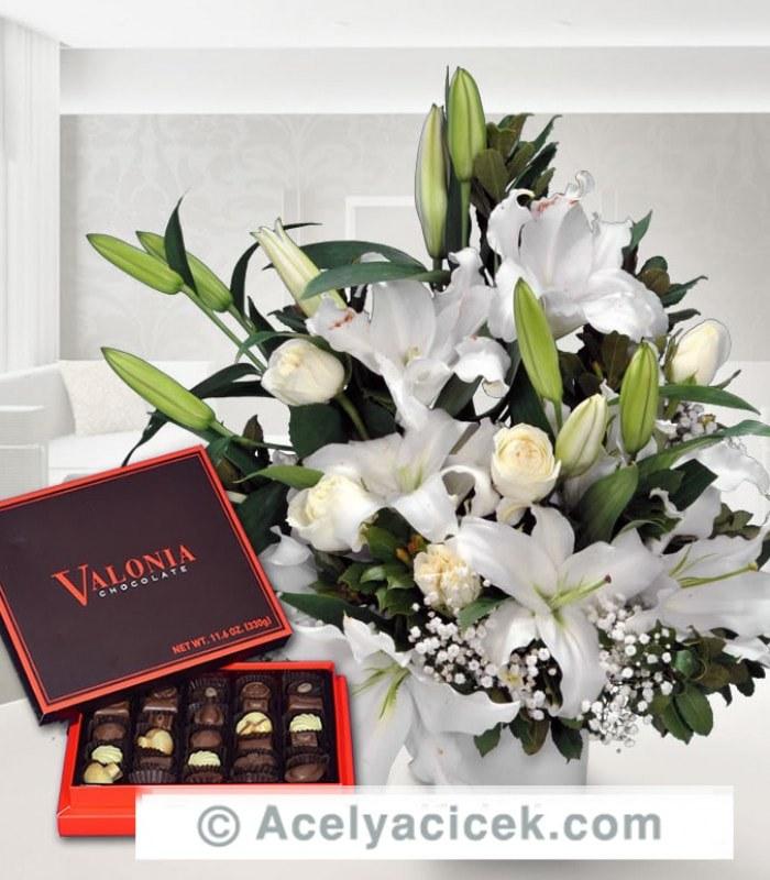 Çikolatalı Beyaz Çiçek