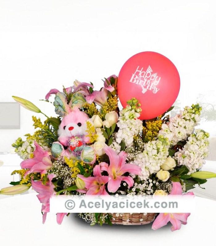 Ayıcıklı Pembe Lilyum Şebboy Çiçeği